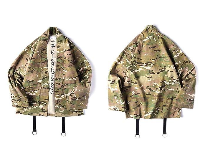 3d7a142eb Fly far Men's Camo Kimono Jackets Japan Style Hip Hop Camouflage Casual  Open Stitch Coats Fashion