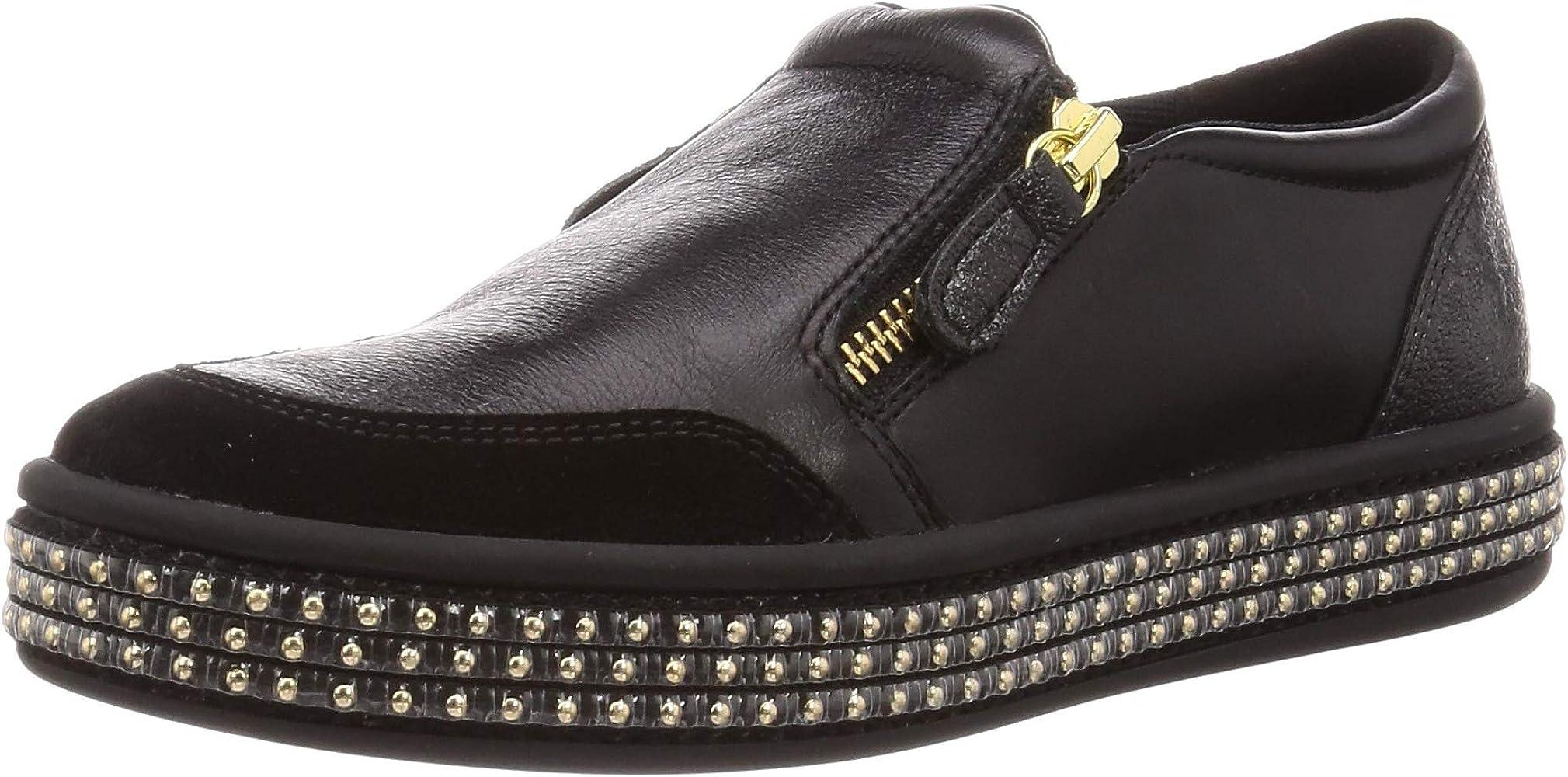 lapso calentar frente  Amazon.com | Geox Women's Leather Leelu Slip-On Trainers Black 6.5 |  Fashion Sneakers