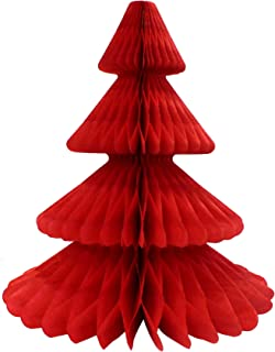 product image for 12 Inch Honeycomb Tissue Paper Tree Decoration, Red (1 Piece)