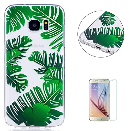 best loved 4b0fb cfc04 KaseHom Galaxy S7 Edge Clear Silicone Case + [Free Screen Protector],Banana  Leaf Funny Cartoon Design Anti-Scratch [Transparent] Soft Slim TPU ...