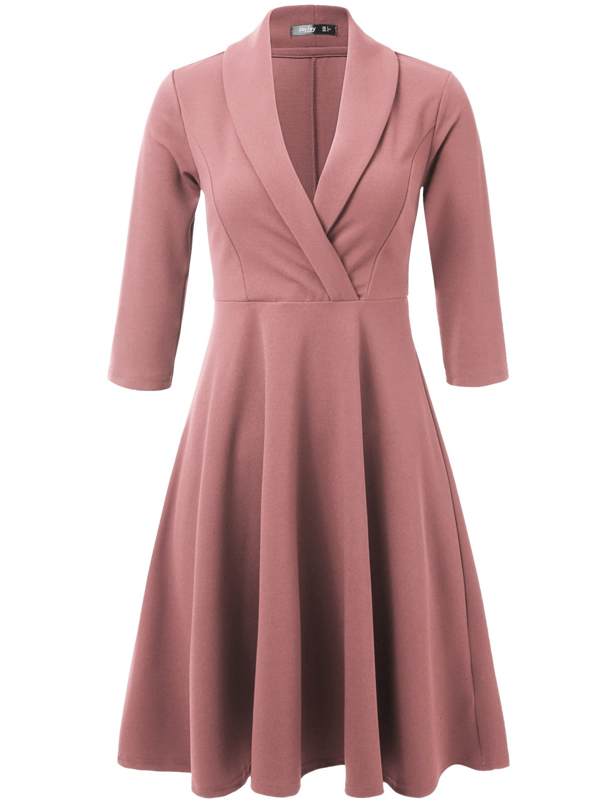 JayJay Women 3/4 Sleeve Wear to Work Lapel Party Fit and Flare Faux Wrap Dress,Rosepink,S