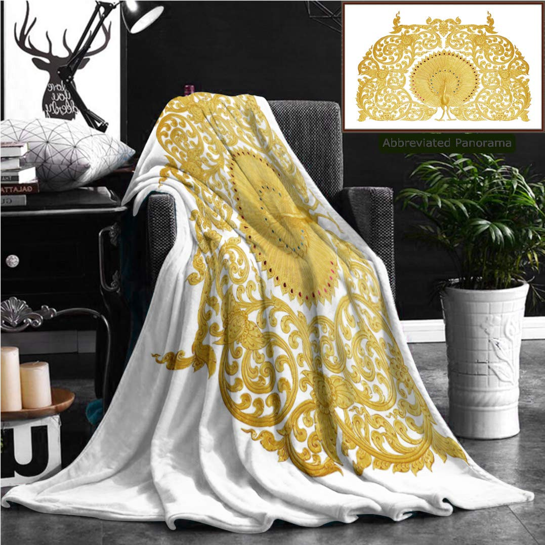 """Nalagoo Unique Custom Flannel Blankets Ornament Of Gold Plated Vintage Floral Thai Art Style Super Soft Blanketry for Bed Couch, Twin Size 70"""" x 60"""""""