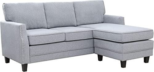 Abbyson Living Reversible Chaise Lounge Fabric Sectional Sofa