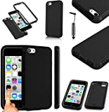 Magic Global Gadgets - Black Front & Back Full Body Protector Hard Armour Hybrid Shock Proof Case Cover For Apple iPhone 5C With Built In Screen Protector & Mini Stylus Pen