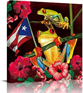 Chucoco Funny Frogs and Spring Floral Oil Paintings On Canvas Wall Art,Puerto Rico Flag Abstract Print Artwork with Framed Ready to Hang, Living Room Kitchen Corridor Bedroom Office Decor