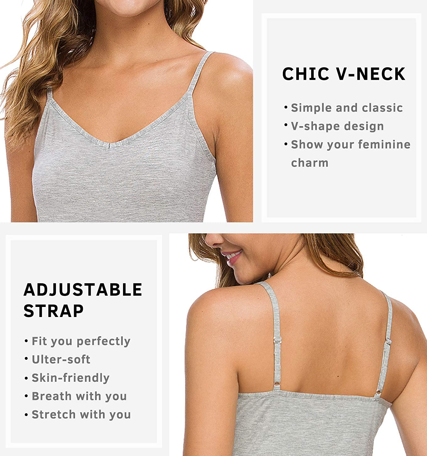 Xelky Womens V Neck Camisole Lightweight Tank Tops Adjustable Spaghetti Strap Undershirts Stretch Soft Plain cami 4 Pack S-XL