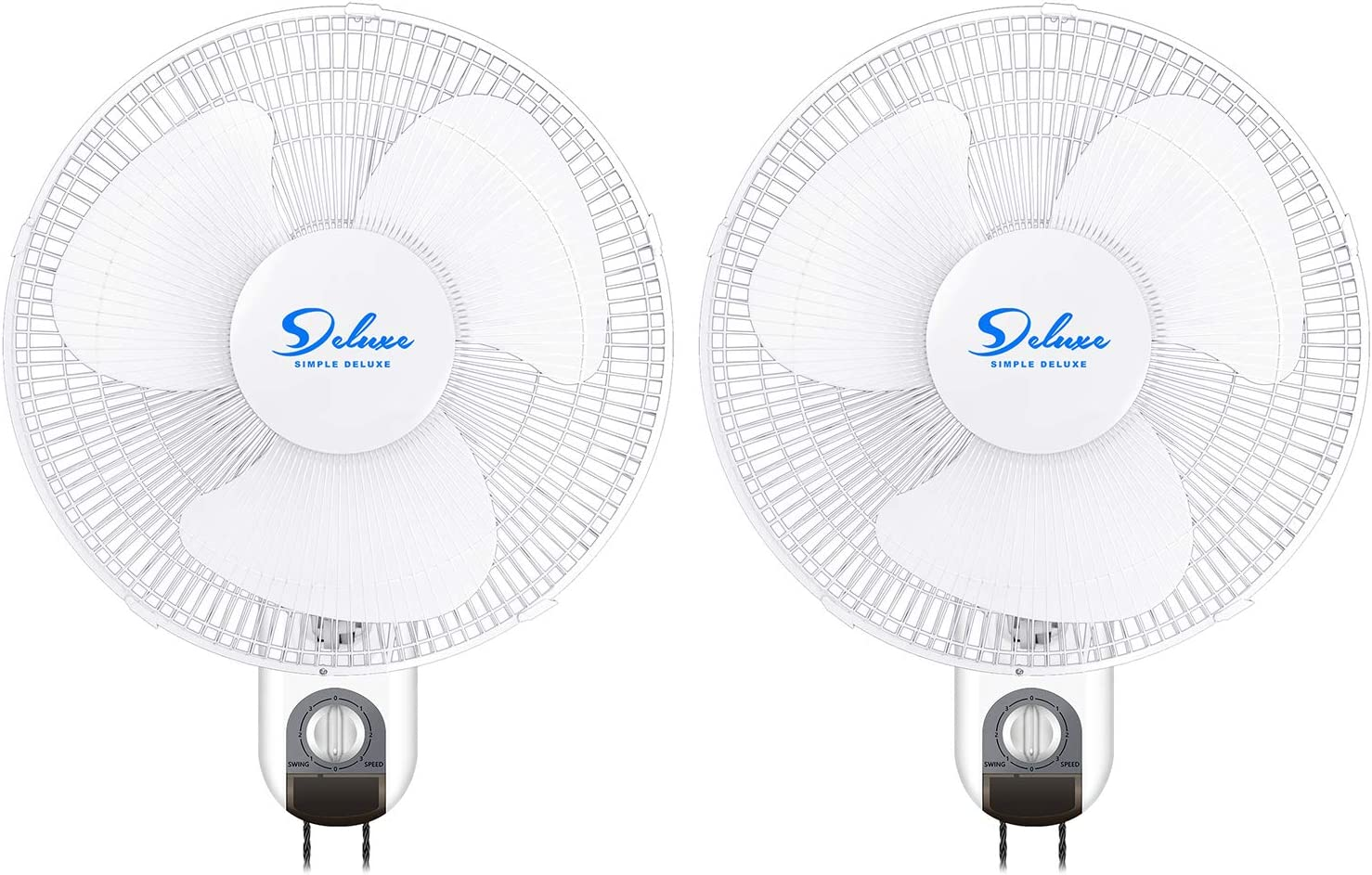 Simple Deluxe 16 Inch Wall Mount Fan - 3 Speed - 3 Oscillating Modes , White, 2-PACK