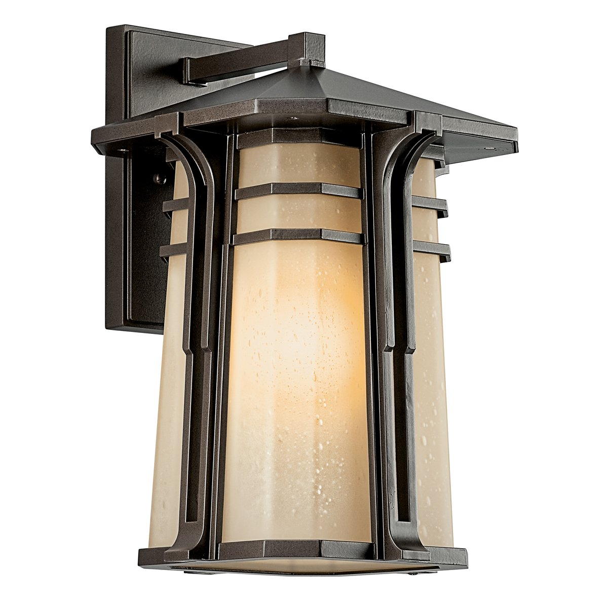 Outdoor led wall lantern olde bronze wall porch lights amazon com - Kichler Lighting 49177oz Fl North Creek 18 Inch High Light Fluorescent Outdoor Wall Lantern Olde Bronze With Light Umber Etched Seedy Glass Wall Porch