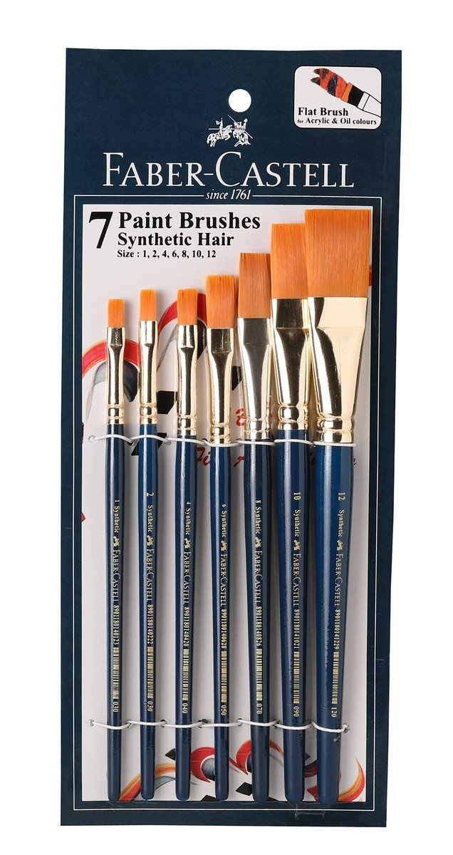 Faber Castell Paint Brush Set Flat Pack Of 7 Navy Blue Amazon In Office Products