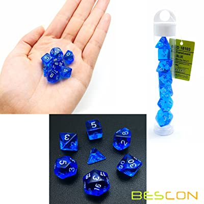 Bescon Mini Translucent Polyhedral RPG Dice Set 10MM, Small RPG Role Playing Game Dice Set D4-D20 in Tube, Transparent Blue: Toys & Games [5Bkhe1906191]
