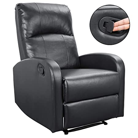 Homall PHL0 Modern Chaise Couch Lounger Sofa Recliner Chair Padded PU Leather Home Theater Seating Bright Black