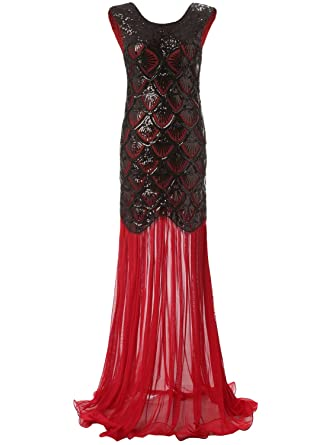 a2d3cdacb29 Bbonlinedress 1920s Long Sequins Gatsby Mermaid V-Back Vintage Prom Dresses  Evening Party Gown Red