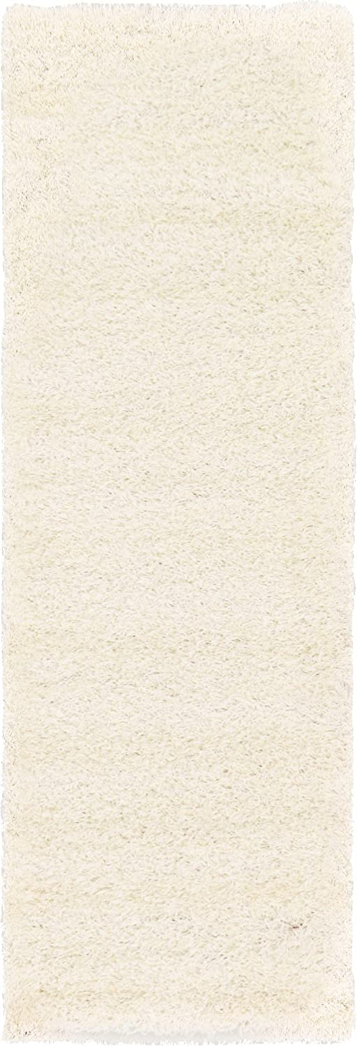 A2Z Rug ( 60x230 cm ( 2ft x 7ft 8) Runner Snow White ) Cozy Shag Collection Solid 5cm Pile Shag Rug Contemporary Living & Bedroom Soft Shaggy Area Rug, Carpet