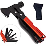 Camping multitool hatchet gifts for dad; tent hammer, camping mini axe with pliers. Perfect for campers gear, survival, fishi