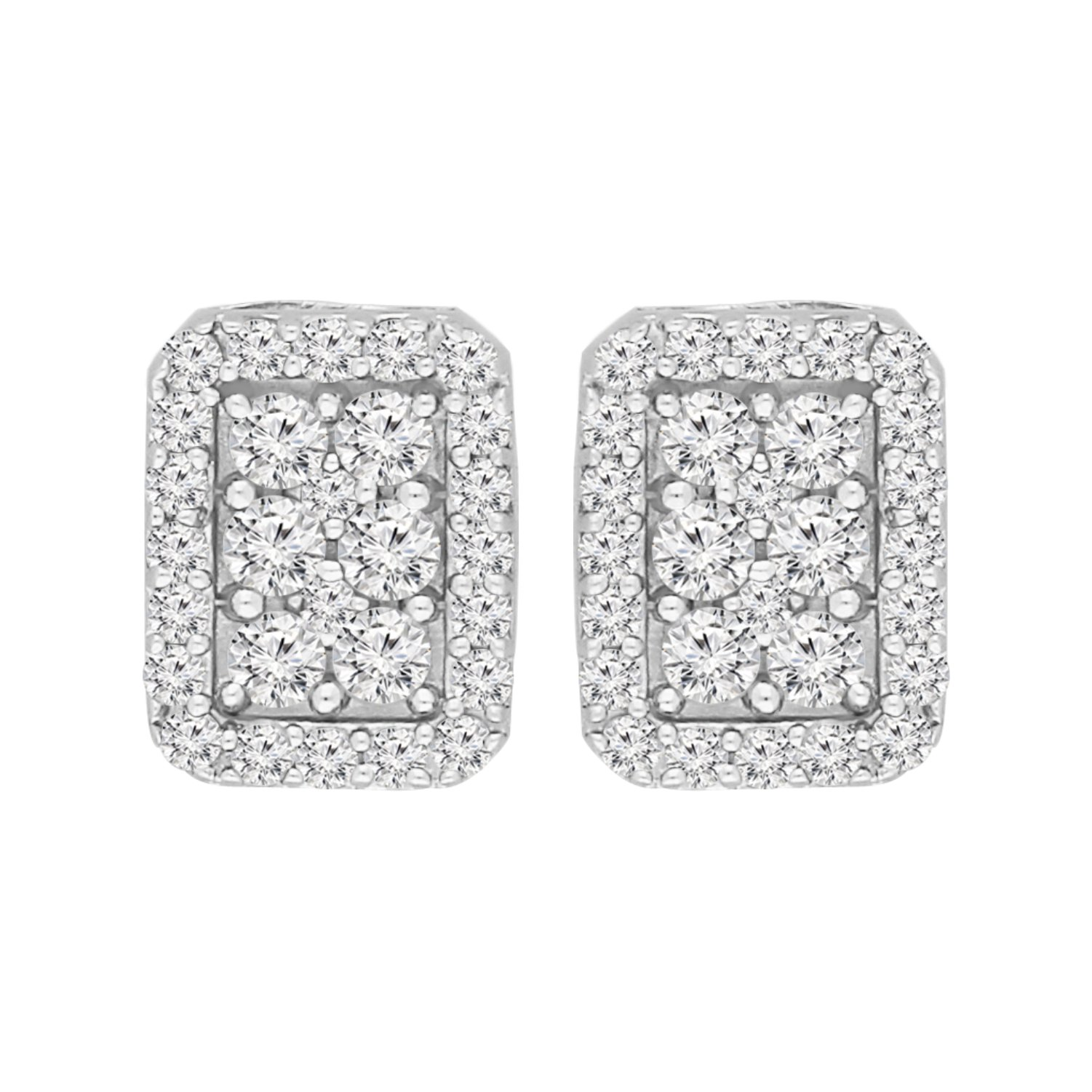 Sterling Silver Round Cut Box Stud Earrings (1 cttw, I-J Color, I2-I3 Clarity)