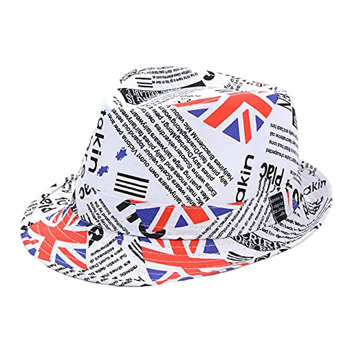 ff973b3b50b Funkeet Kids USA Flag Fedora Hats Short Brim Trilby Independence Day Party  Fedoras Caps Little Boys