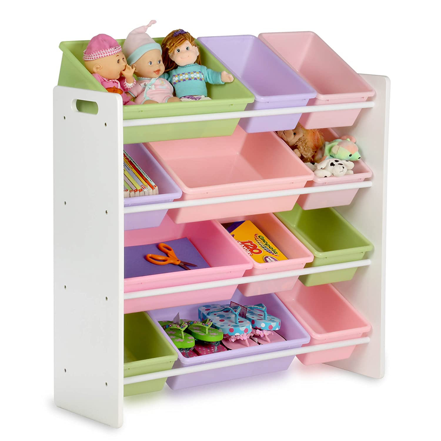amazoncom honey can do srt 01603 kids toy organizer and storage bins whitepastel kitchen dining - Kids Room Storage Bins