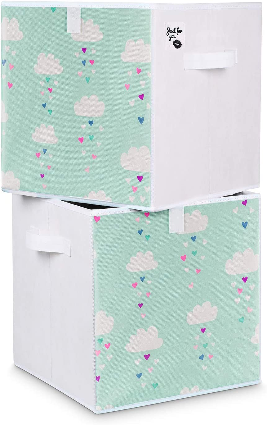 B/ärchen rosa Kleidung Just For You 2 St/ück Spielzeugboxen Doppelpack 33x33x33 cm Set f/ür Kinderzimmer Aufbewahrungsbox Kisten mit Handgriffen B/ärchen Ballons Wolken f/ür Spielzeug Windeln