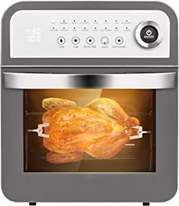 Schloß GAF12 Air Fryer Combo 12Qt Multiuse Rottiserrie Large Toast Oven With 8 Cooking Accessories and Recipe, 16 Preset Modes of Fry, Rotisserie, Dehydrate, Gray