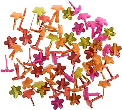MonkeyJack 100 Pieces 7.5mm Multi-color Flower Metal Brads for Scrapbooking Card Making DIY Craft