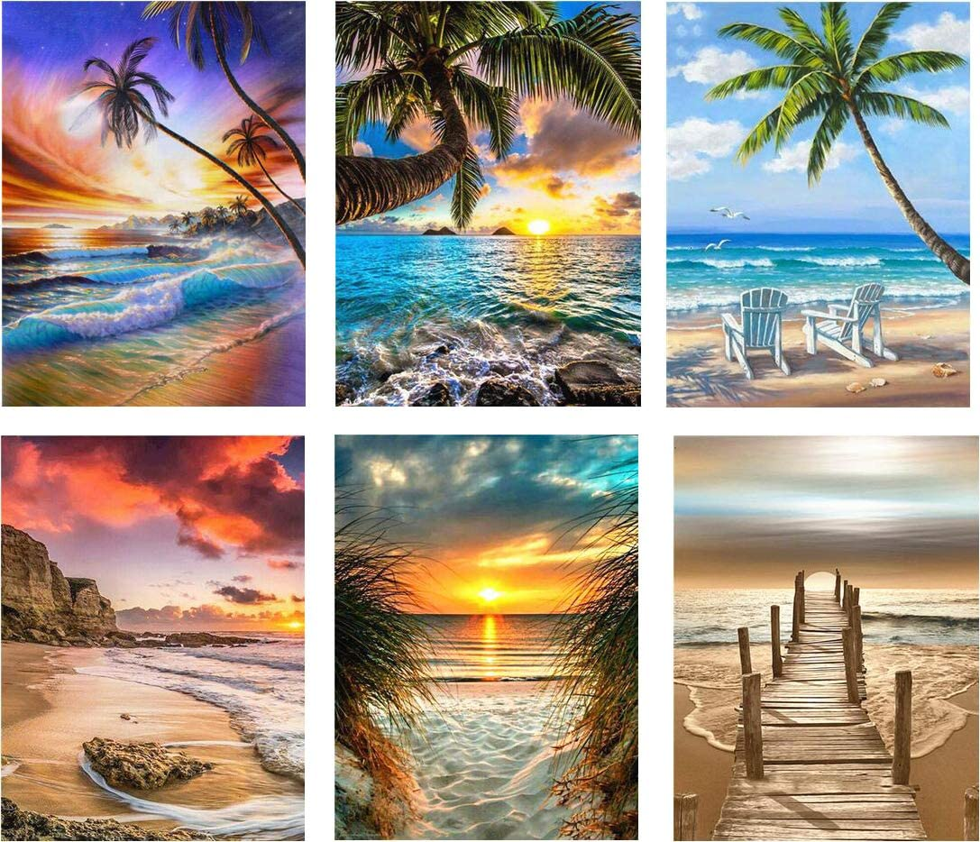 12/×16 INCH A Pack of 6 Sets SIIYIX 6 Sets 5d Full Drill Diamond Painting Art Dotz Diamond Paint by Numbers Beach Kits for Adult Kids Housewarming Gifts Beach Boat Sea Sunset Sunrise