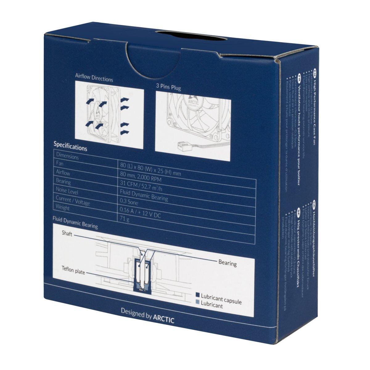 Configurazione Push o Pull ARCTIC F8 PWM Velocit/à Regolata Segnale PWM 80 mm PWM Ventilatore Portatile Custodia Standard