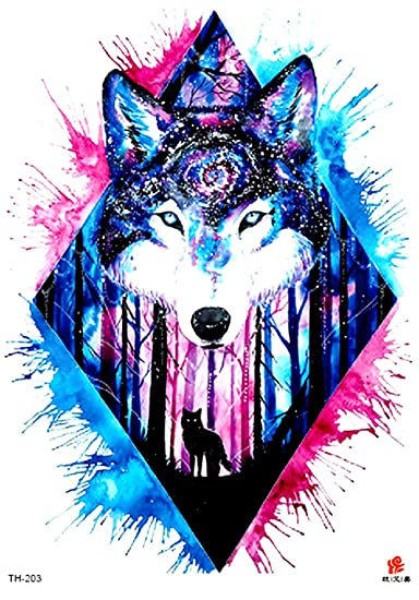 Amazon Com Wolf Tribe Forest 8 25 Large Temporary Arm Tattoo Lower