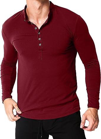 MODCHOK Hombre Camiseta Manga Larga Henley T-Shirt Sudaderas Botones Casual Algodón