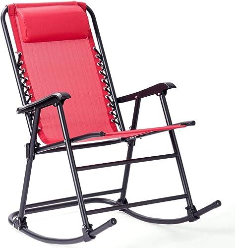 Goplus Folding Rocking Chair w/Headrest Patio Pool Yard Outdoor Portable Recliner - a good cheap outdoor recliner