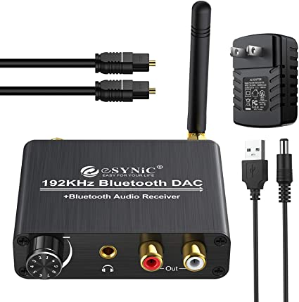 DAC Converter Support 192KHz//24bit Converts Coaxial//Toslink Digital PCM Audio Signals to Analog L//R Audio and 3.5mm Headphone LiNKFOR Digital to Analog Audio Converter Optical to RCA
