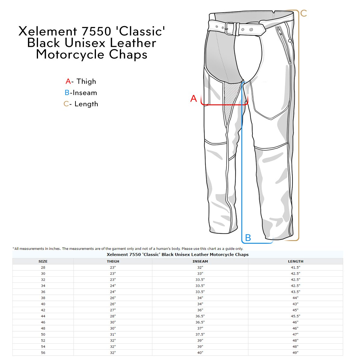 Xelement 7550 Classic Black Unisex Leather Motorcycle Chaps - 36