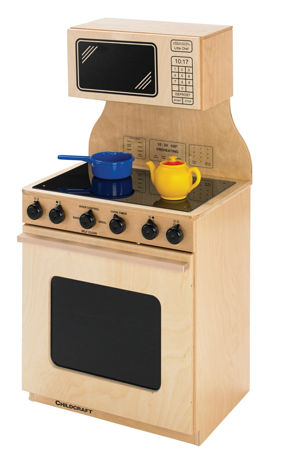 Childcraft 1491224 Modern Kitchen Stove and Microwave, 20-3/4 x 15-5/8 x 42 Inches Height,15.63 Inches Width,20.75 Inches Length,Natural Wood