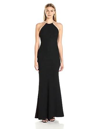 Xscape Women\'s Long Crepe Halter Neck Dress at Amazon Women\'s ...