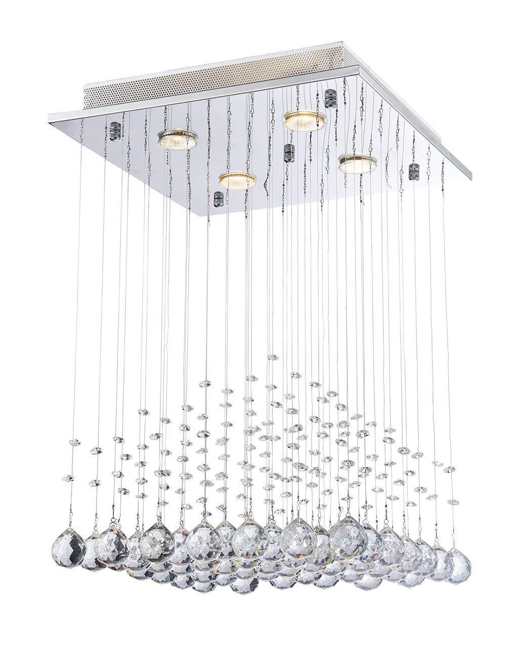 Saint Mossi Modern K9 Crystal Lámpara de araña de lluvia Iluminación Montaje empotrado Lámpara de techo de LED Lámpara colgante para comedor Baño Sala de ...