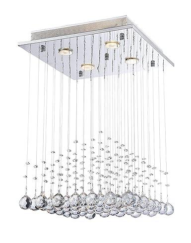Saint Mossi Modern K9 Crystal Lámpara de araña de lluvia Iluminación Montaje empotrado Lámpara de techo de LED Lámpara colgante para comedor Baño Sala ...