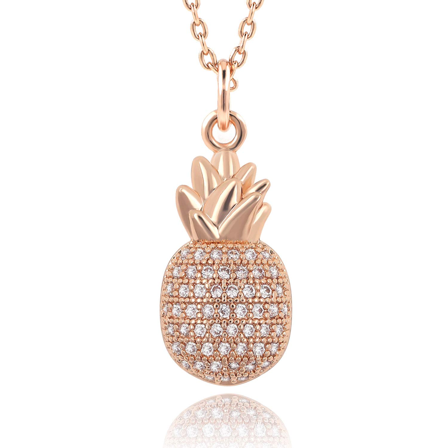 """Lancharmed Tropical Pineapple Fruit Paved CZ Pendant Necklace 16""""+2"""" Extender Real Gold Plated for Women Girls Teens (Rose Gold)"""