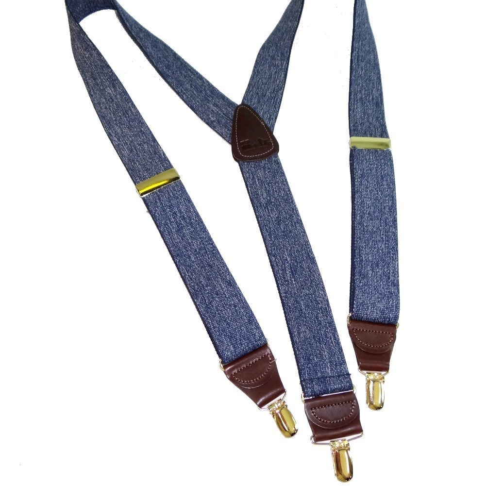 Holdup Brand Dark Blue Denim Suspenders in a 1 1/2'' width and Y-back Style with Patented No-slip Gold tone Clips