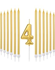 Tatuo 21 Pieces Happy Birthday Cake Candles Set Includes Metallic Number Candle 20 Gold
