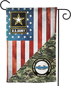 "US Army Combat Infantryman CIB 1st Award Veteran Garden Flag Welcome Banner for Patio Lawn Party Yard Home Outdoor Decor, On Both Sides, 12.5""x18"" / 28""x40"""