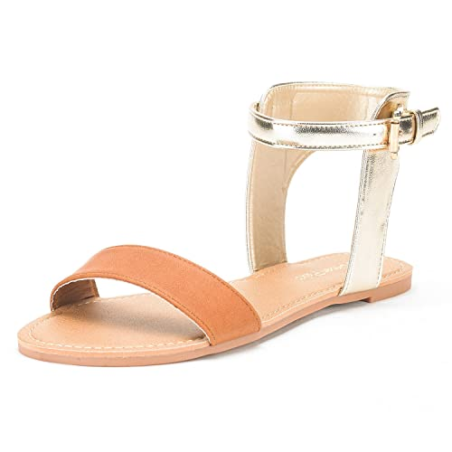 7f1ba292b DREAM PAIRS Women s Alexa Tan Gold Cute Open Toes One Band Ankle Strap  Buckle Flat Sandals
