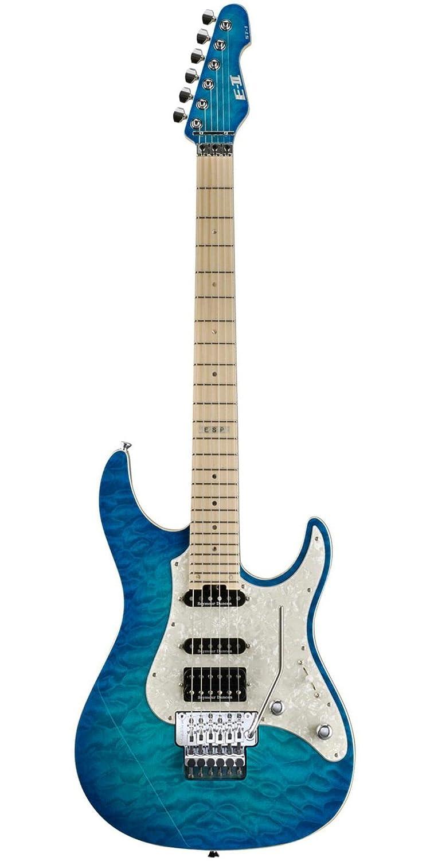 ESP - Guitarra eléctrica ST1QMM EII QM, color azul y blanco: Amazon ...