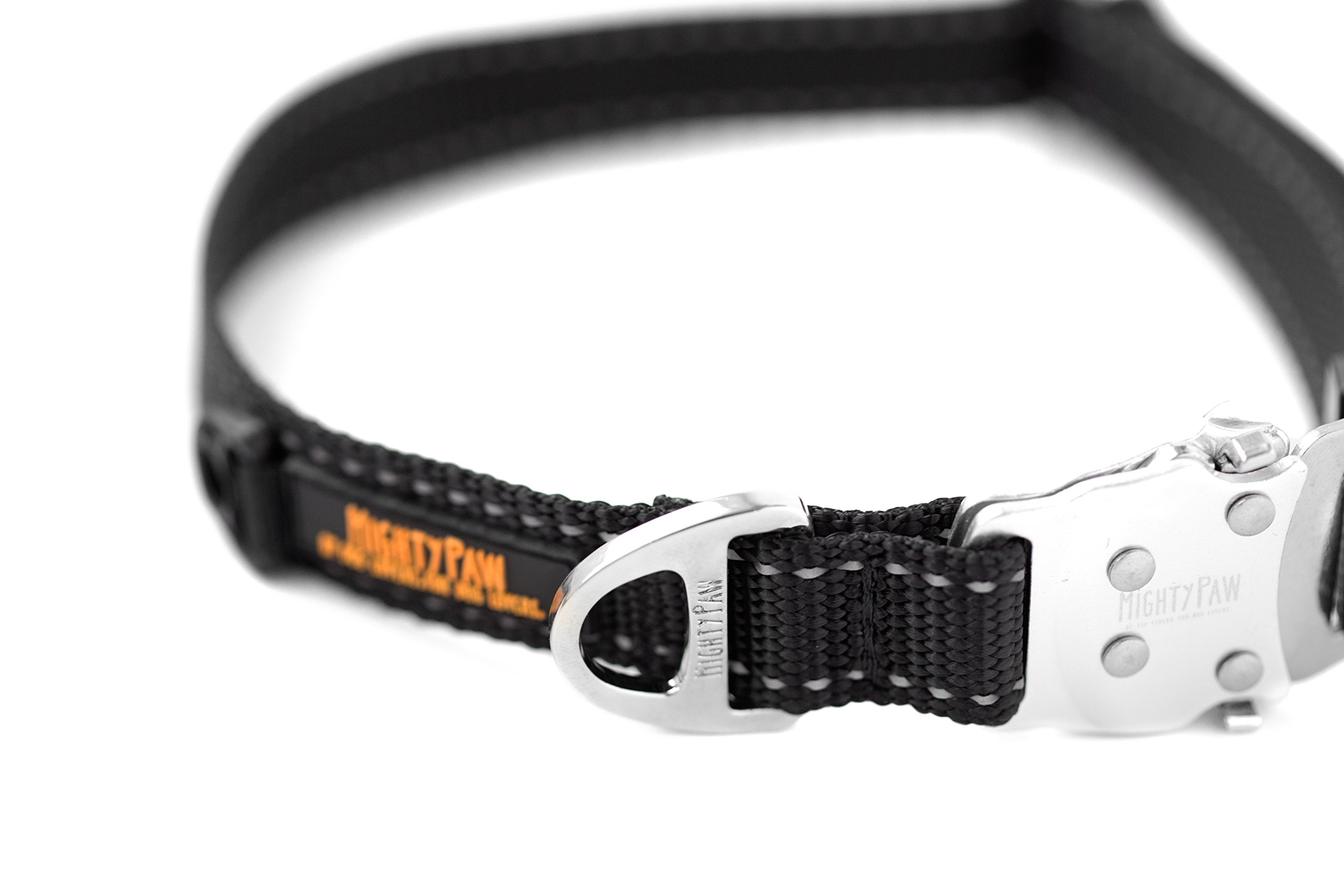 Mighty Paw Metal Buckle Dog Collar, All Metal Hardware, Lightweight Collar, Reflective Stitching, Strong, Durable (Medium, Black) by Mighty Paw (Image #9)
