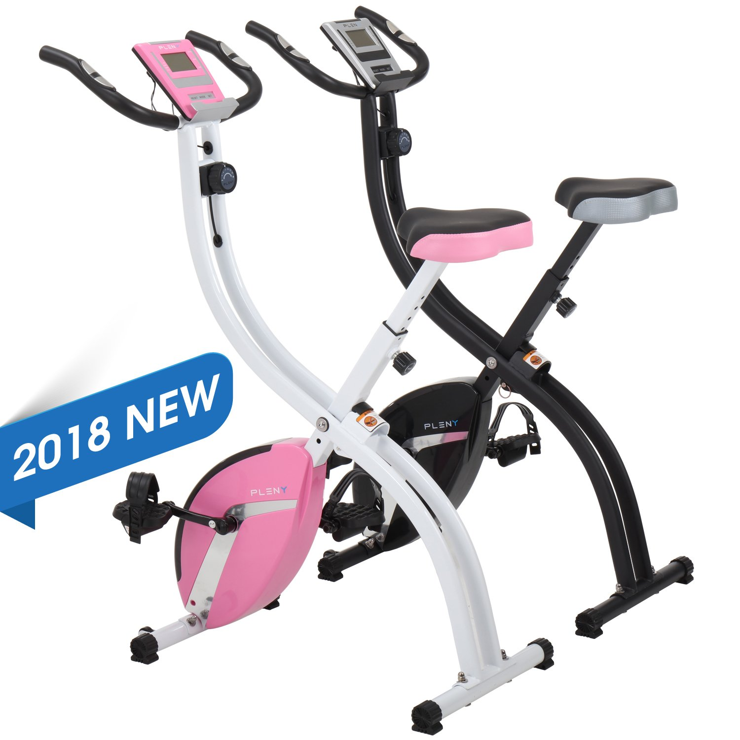 PLENY Foldable Upright Stationary Exercise Bike with 16 Level Resistance, New Exercise Monitor with Phone/Tablet Holder (Pink) by PLENY (Image #3)