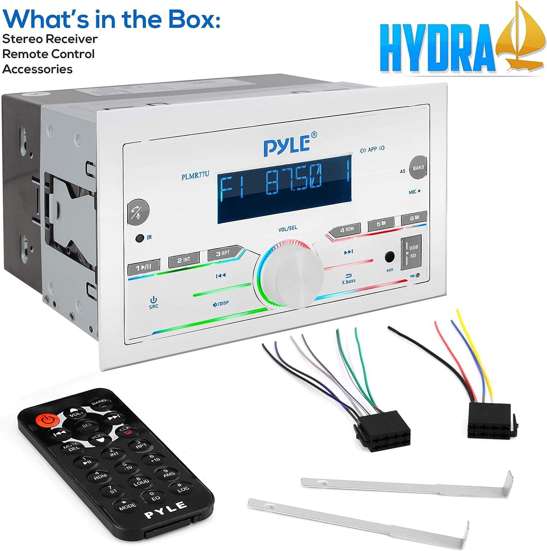 White AUX Pyle Bluetooth Marine Radio Receiver USB/SD AM/FM Radio ...
