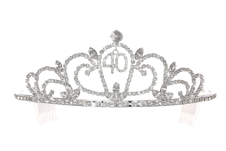 Birthday Party Rhinestone Crystal Tiara Crown - 40th Forty Fortieth T1168 by Venus Jewelry