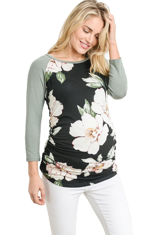(ラクレフ) LaClef 野球クルーネックラグランマタニティTシャツ レディース B07BNXP4BM Small|Black Flower/Green Black Flower/Green Small