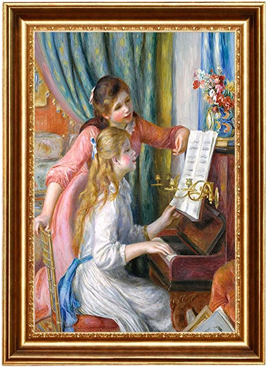 2 Young girls at the piano by Pierre-Auguste Renoir Giclee Repro on Canvas