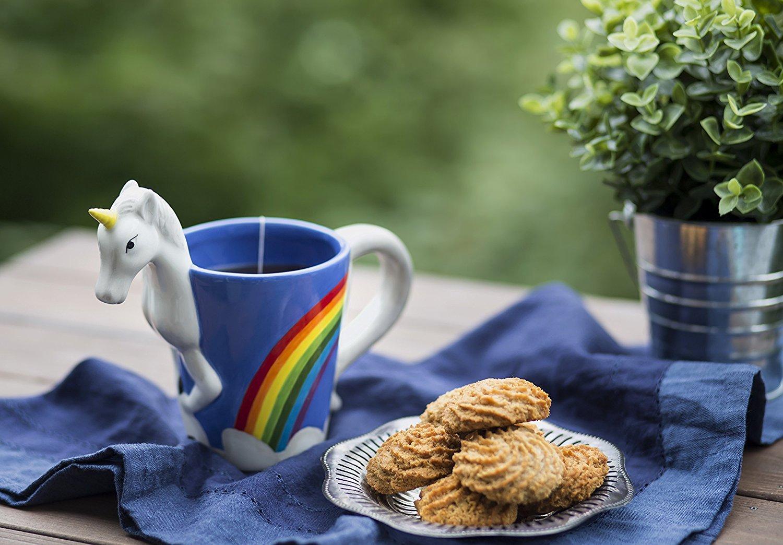 Ceramic Unicorn Coffee Mug w/ Rainbow by Comfify - Sweet & Fantastical 3D Unicorn Design w/ Magical Rainbow - Unique… 4