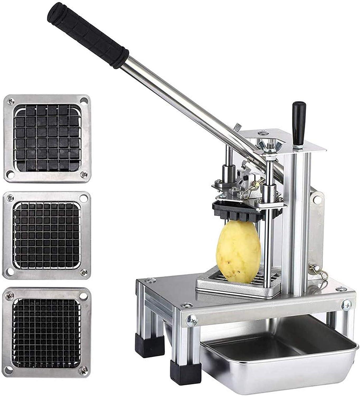 KKTECT Astilladora de Patatas Comercial Cortadora de Frutas Vegetales con 3 Cuchillas de Acero In...