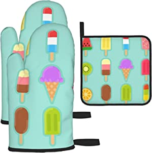 Delicious Ice Cream Oven Mitt & Pot Holder Set 100% Polyester